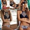 2017 Summer Women Bikinis High Neck Push Up Set Geometry Print Swimwear Slim Swimsuit Beach Bikini