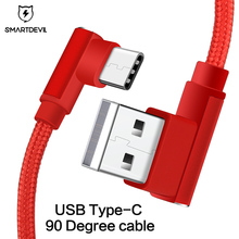 SmartDevil Fast Charging Cable For Samsung S10 S9 USB Type C Android Phone Universal 90 Degree Data Cord for Huawei Nylon