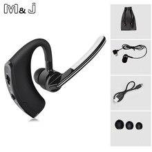 M & j v8 v4.1 bluetooth беспроводная гарнитура для наушников handsfree ушной крючок голосового управления с микрофоном для управления iphone samsung