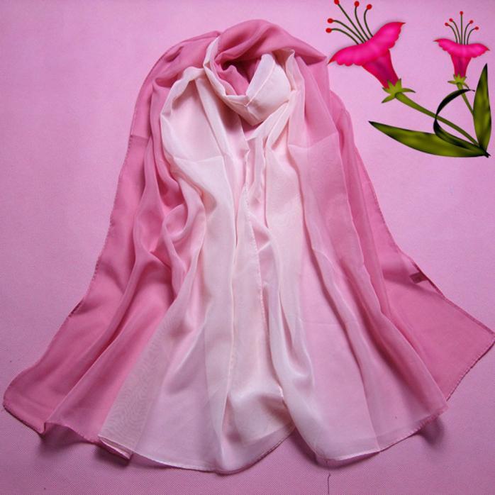 2019 Women Scarf  Pink Fashion Lady Gradient Color Long Wrap Women's Shawl Chiffon Scarf Scarves Warm And Light Scarf L308