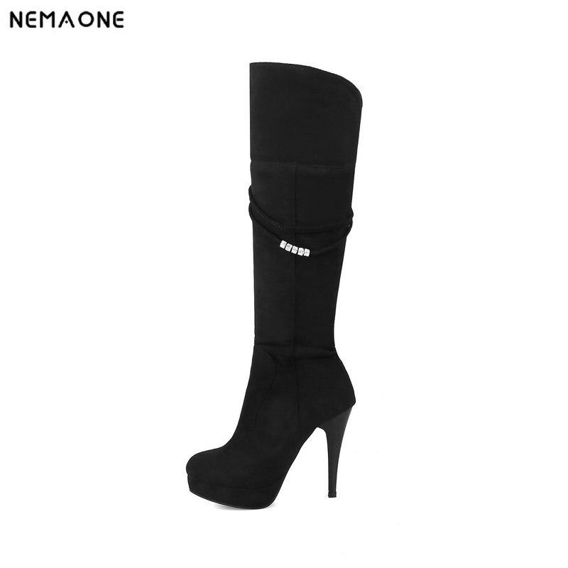 NEMAONE sexy knee high boots woman 11cm high heels platform winter autumn women long shoes black