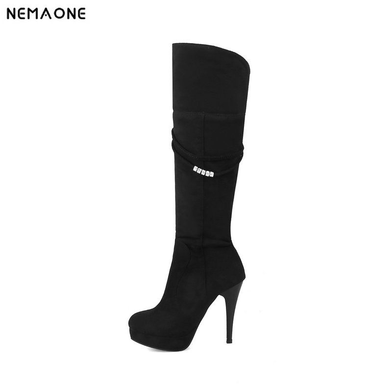 NEMAONE sexy knee high boots woman 11cm high heels platform winter autumn women long shoes black gray Plus size 34-43 1 x cost saving drum and blade kit comptible for kyocera fs1016 fs1028 1100 fs1128 1135 1300d fs1320 fs1350 fs1370 fs720 820 920