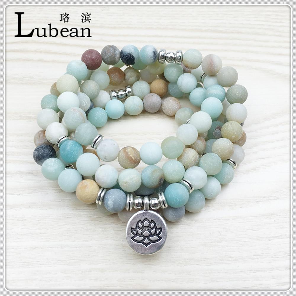 Lubean Fashion Women`s Matte Amazonite 108 Mala Beads Bracelet or Necklace High Quality Lotus Charm New Design Yogi Bracelet