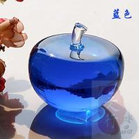 Blue Glass Crystal Apple Paperweight Crafts Art&Collection 80mm Crystal Fruit Souvenir Home Wedding Gifts Decoration Supplies