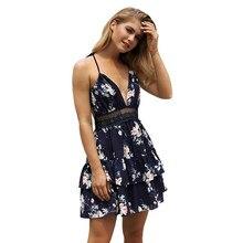 168ce7306af9 Women 2018 Summer print Dresses brand V-neck spaghetti strap lady Clothing  Chic Elegant Beach Mini Dresses vestidos