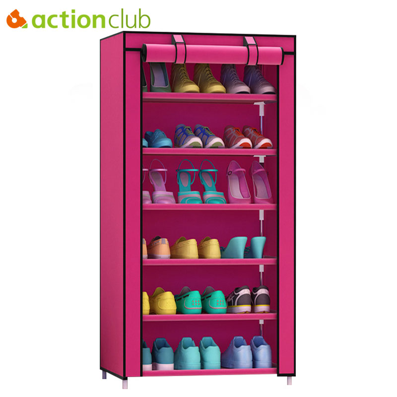 Actionclub Thick Non-woven Dustproof Seven Layers Shoe Cabinet Creative DIY Combination Cabinet Storage Shoe Rack Shoe Shelf shoe rack nonwovens steel pipe 4 layers shoe cabinet easy assembled shelf storage organizer stand holder living room furniture