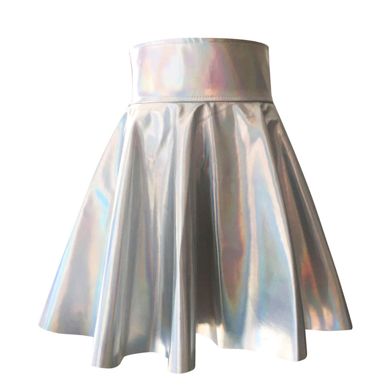 2019 New Women's Skirt Women Leather Solid Holographic Pleated Sexy High Waist Mini Short Skirts Summer Skirts For Women FD