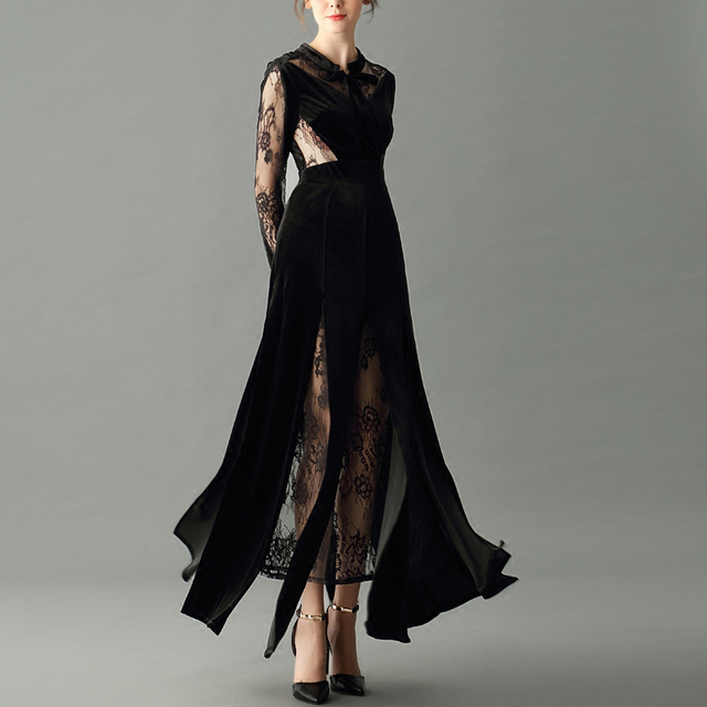 Sexy Black Dress Sheer Lace Long Sleeve Transparent Rib And Back Bow
