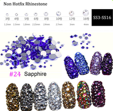 1440Pcs Crystal Rhinestones SS3-SS16 Dark Blue Strass Hotfix Rhinestone For Clothes Non Hot Fix Nails Stones And
