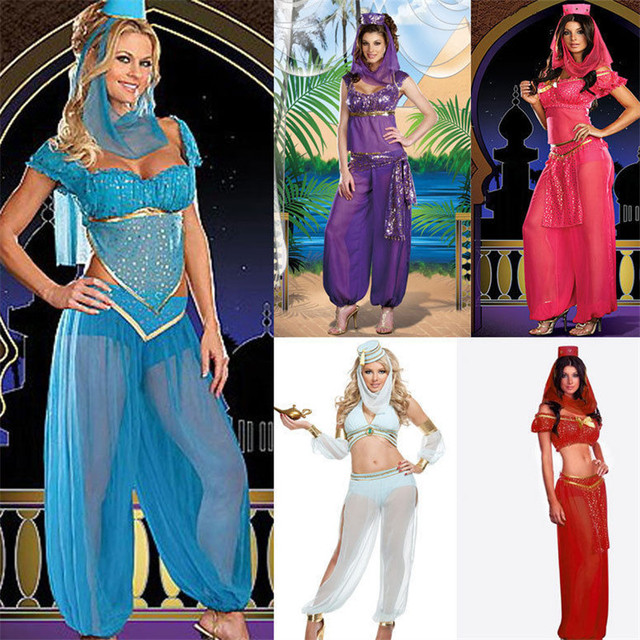 aa975aace Sexy Adult Women Belly Dancer Dress Arabic Dance Costume GENIE Aladdin  Princess Halloween Fancy Dress-in Holidays Costumes from Novelty   Special  Use on ...
