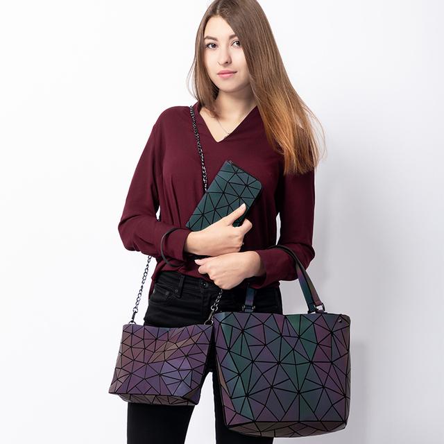 REALER women shoulder bags 3 set luxury designer folding bag crossbody bag female purse and wallet for ladies luminous color