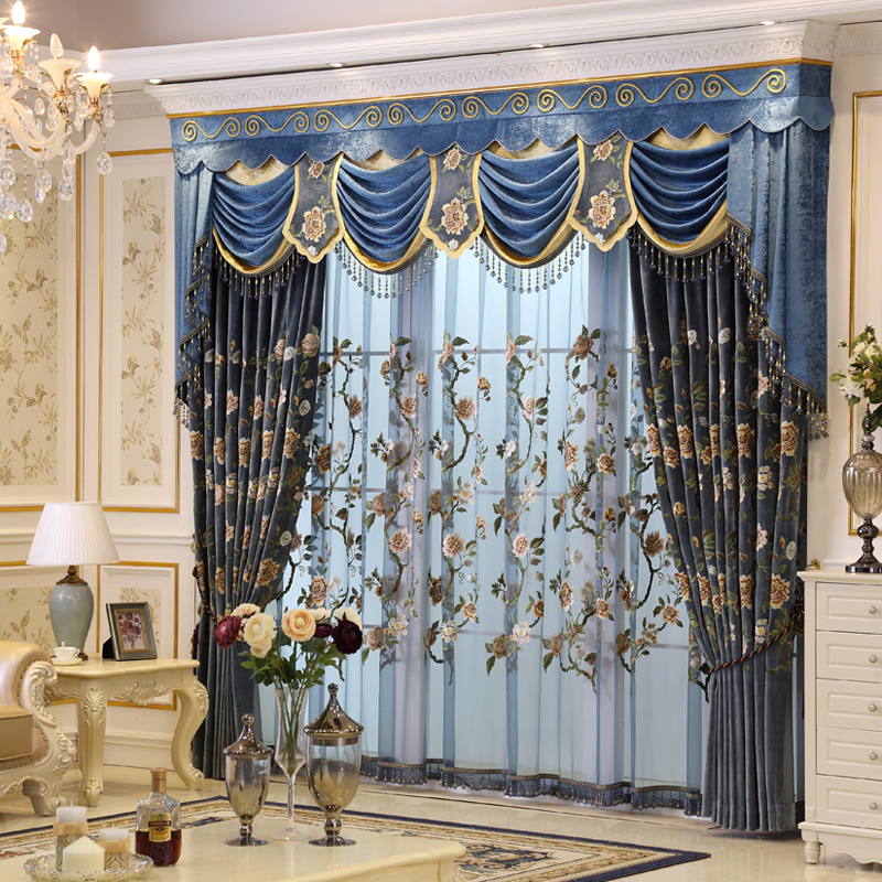 Set luxurious embroidered curtains for living room with valance <font><b>Italian</b></font> velvet blackout Europe curtains for bedroom customize 08