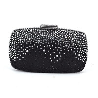 Women S Black Satin Silver Diamond Pillow Evening Clutch Bags Female Luxury Hot Drilling Bride Wedding