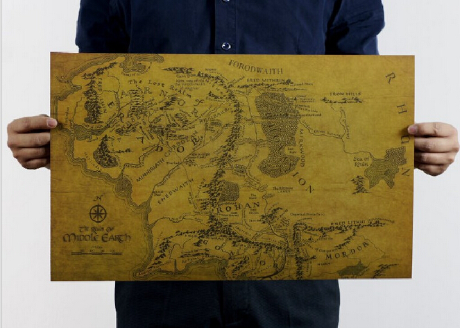 Vintage MIDDLE EARTH MAP On Poster  51x35cm Kraft Paper Lord of the Rings  Map Poster kraft paper