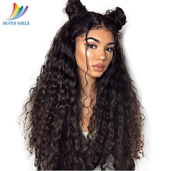 Sevengirls Kinky Curly Wet And Wavy Wigs Natural Color Pre Plucked Full Lace Human Hair Wigs Brazilian Virgin Hair Free Shipping