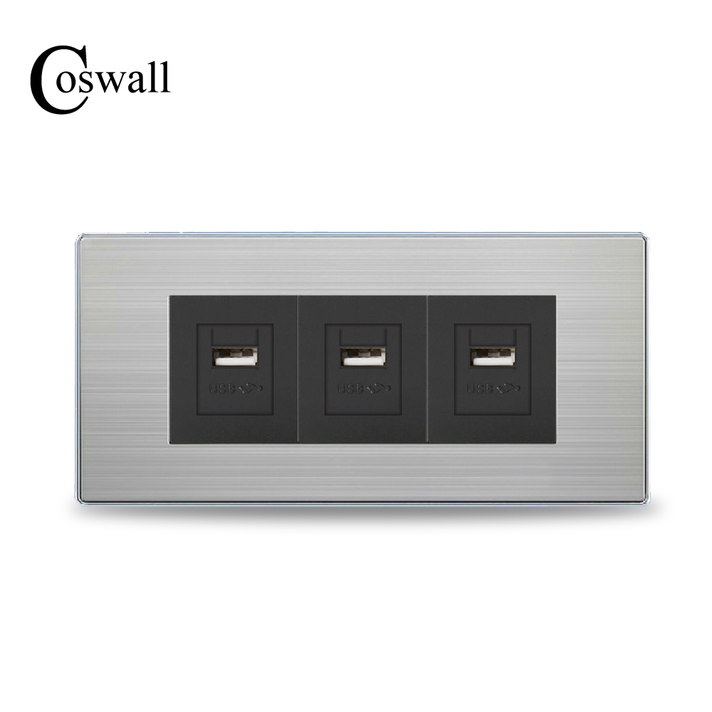 COSWALL Luxury Wall Outlet Triple USB Charging Port For Mobile Output 5V...