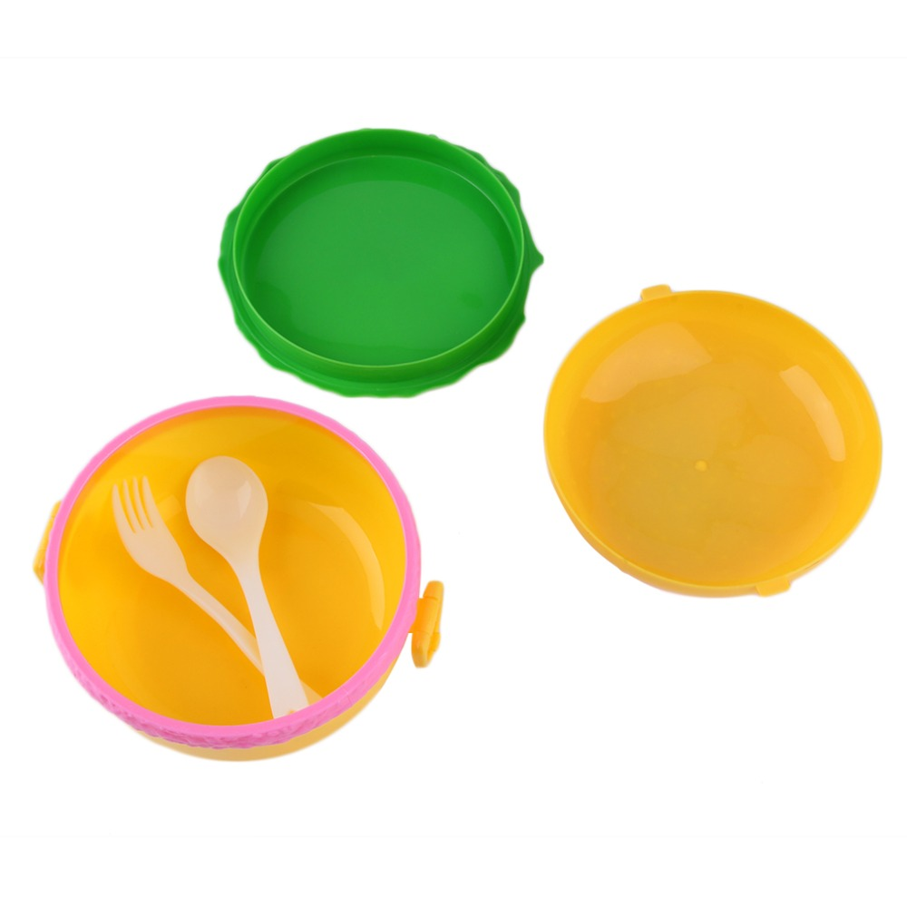 PREUP Double Tier Children Hamburger Bento Lunch Box Food Container Storage with Spoon&Fork Lunchbox Bento Container