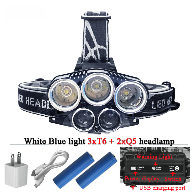 Blue light white USB 5 led headlamp headlight CREEXML T6 Q5 head lamp 15000 lumens powerful led flashlight head torch lamp