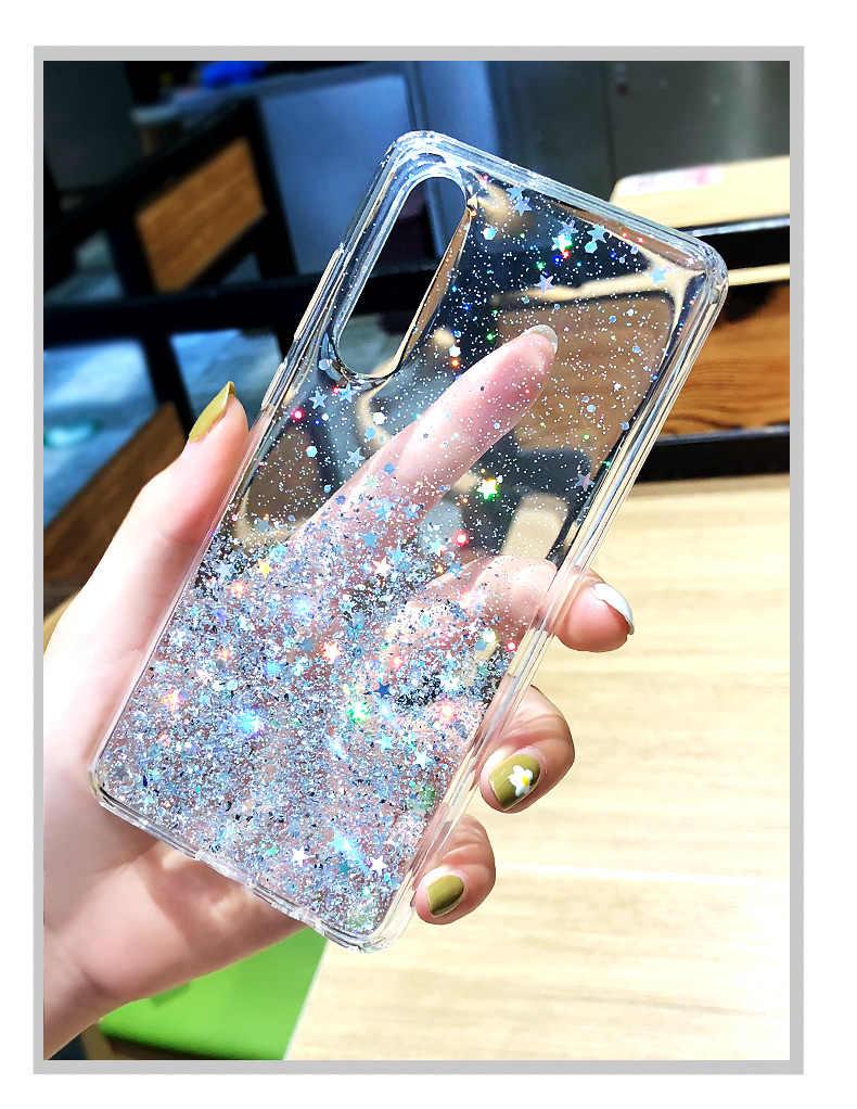 Moda lentejuelas brillante sólido suave TPU funda bonita para Huawei Mate 20 20X Pro P20 Nova 5 Honor 20