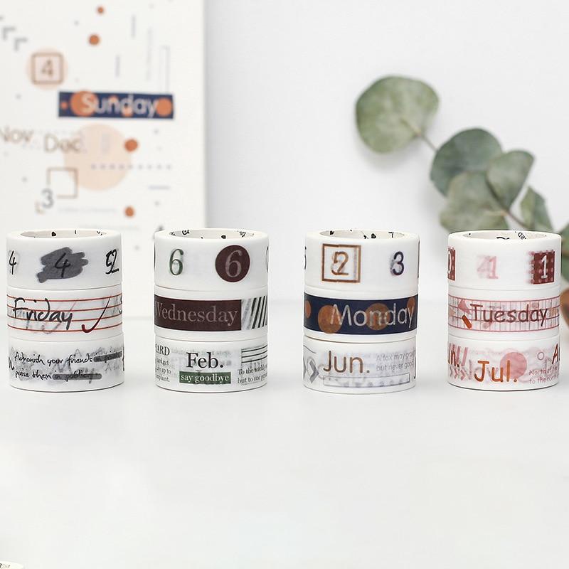 3pcs/Lot 15mm Vintage Month/Week/Number Washi Tape Set Creative Diy Decorative Adhesive Tape Planner Stickers Scrapbook Supplies