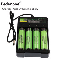 Charger and 4pcs 18650 3400mAh battery 3.7V Li ion Rechargebale battery PCB Protected For panasonic NCR18650B 18650 3400