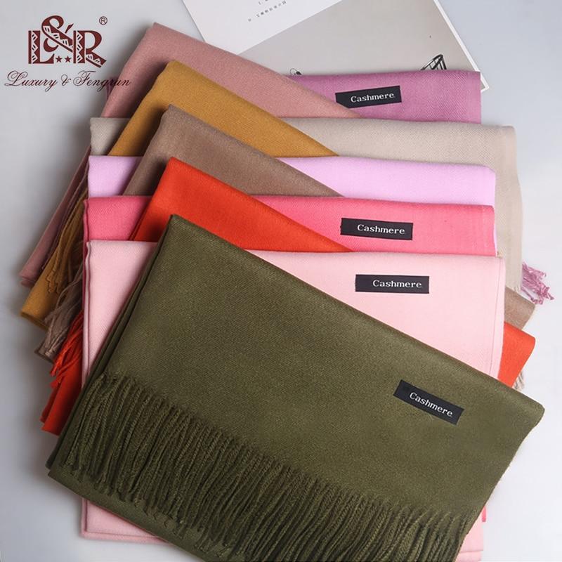 2019 Luxury Brand Cashmere Scarf Women Ladies Men's Winter Warm Soft Shawls Pashmina Solid Tassel Long Scarves And  Wrap Bufanda