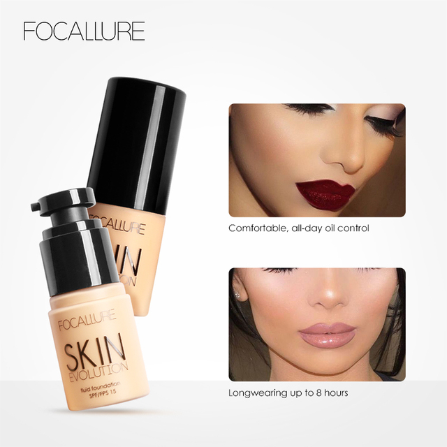 FOCALLURE Base Face Liquid Foundation Cream Full Coverage Concealer Oil-control Easy to Wear Soft Face Makeup Foundation 3