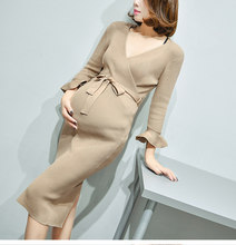 High Quality Maternity Nursing Dresses spring pregnant women clothes breastfeeding sweater dress fashion tide mother long dress(China)