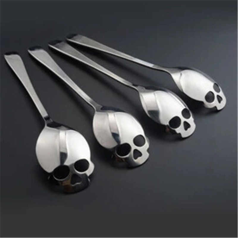 Stainless Steel coffee Scoop Skull shape dessert spoon Food grade ice cream candy tea spoon tableware Drop shipping