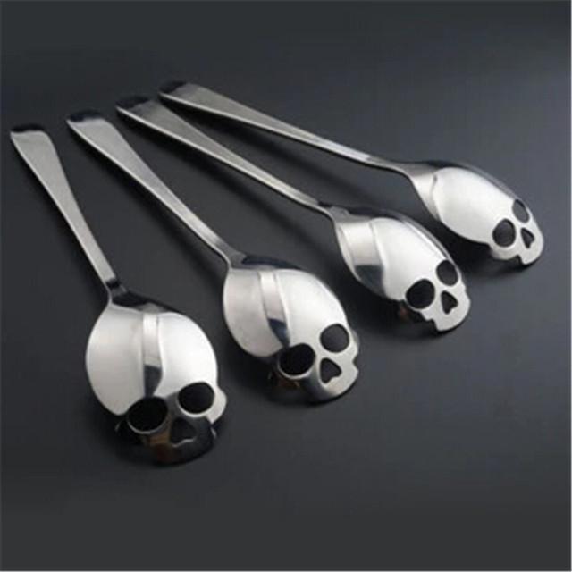 Stainless Steel Teaspoon. Form of Phytosterols-Skull. Halloween.