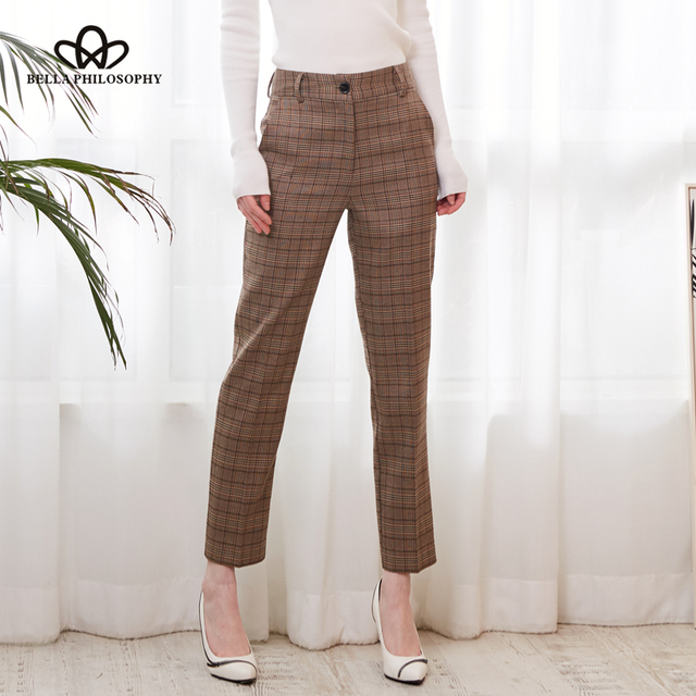 Bella Philosophy 2019 Spring Plaid Basic Pants Women Casual High Waist Long Harem Pants Female Zipper Office Lady Pants Bottoms