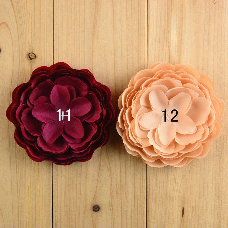 Freeshipping 100pcs lot Fabric Peony Flower Without Hair clips woman Fashion Headwear 10 colors FH38