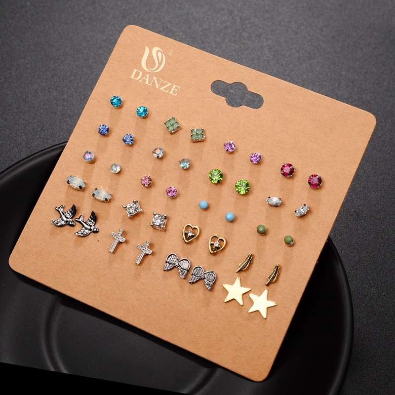 DANZE Punk Pairs Pack Set Brincos Mixed Stud Earrings For Women Crystal Ear Studs Fashion Simulated Pearl Jewelry Wholesale 55