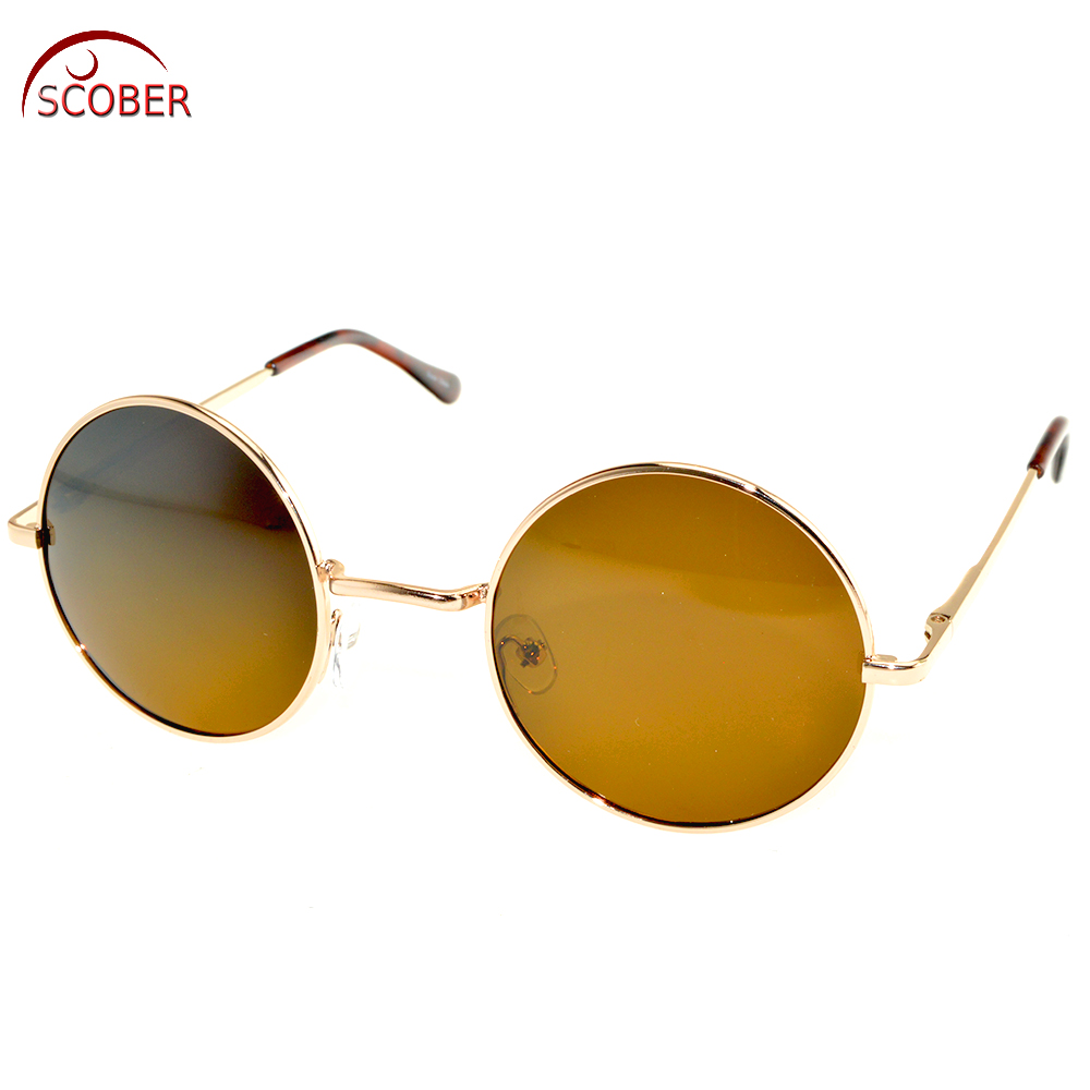 Retro Vintage Round men women polarized sun glasses polarized sunglasses Custom Made Myopia Minus Prescription Lens -1 to -6