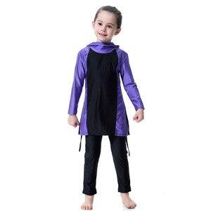 Image 3 - Синий купальник для маленьких девочек, детские мусульманские спортивные костюмы для плавания с длинным рукавом, водонепроницаемые детские толстовки для плавания для девочек, костюмы, пляжный купальник