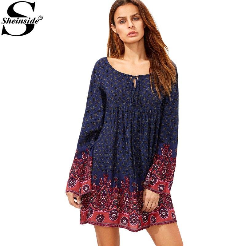 Sheinside navy tie neck floral print short dress ropa bohemia  otoño damas de cu