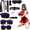 HOT 11/10/9/8/7 Pcs/set handcuffs police Cosplay Tools Toys for Set Handcuffs Nipple Clamps Gag Whip Rope Sex Toys For Couples