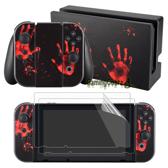 eXtremeRate Bloody Print Skin Sticker Covers 2 Pcs Screen Protectors