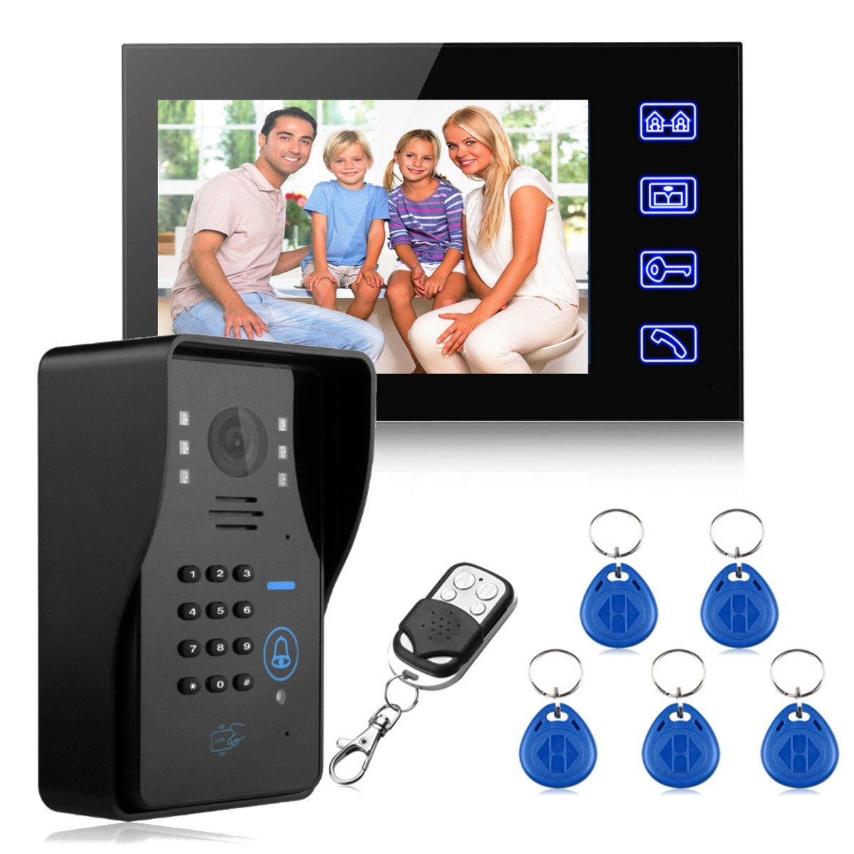 NEW Safurance 7 LCD RFID Video Door Bell Phone Doorbell Intercom System Touch Key IR Camera Home Security Building Automation touch key 7lcd wired touch key rfid password video door phone doorbell intercom system ir camera with remote control