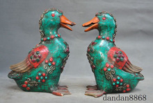 wedding decoration Tibetan bronze mosaic turquoise Red Coral Emerald ruby animal Fengshui Duck Pair