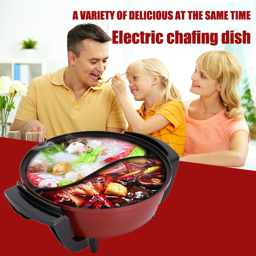 1PC  220V 1500W 6L High quality Electric  Multifunctional  Hot pot cooker Yuanyang Pot Household non-stick cookware high quality electric cooker plastic injection mold