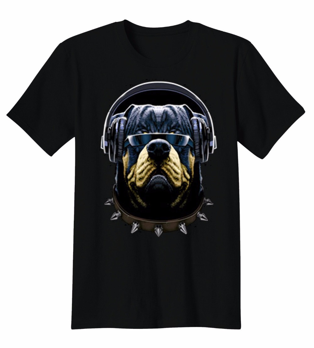 Shirt Shop Short Funny Crew Neck Mens Rottweiler Cool Character Puppy Dog Wearing Headphones Sunglasses T-Shirt Tee T Shirt