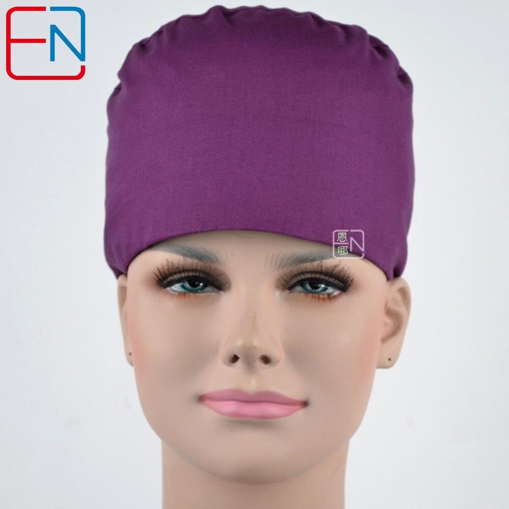 Hennar Hennar Medical Surgical Hats Masks Men Women Dentist Pet Doctor Scrub Caps Pprple 100% Cotton Unisex Scrub Caps
