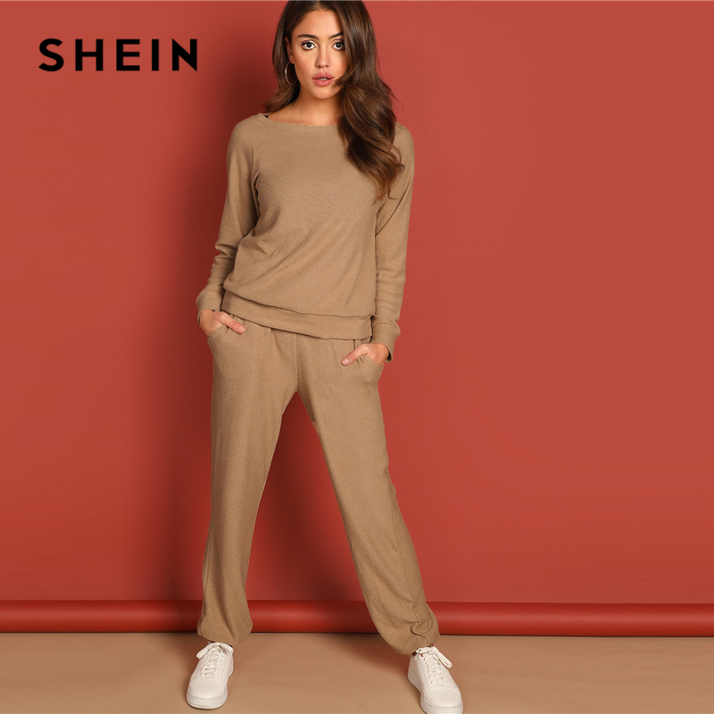 Image 4 - SHEIN Apricot Round Neck Solid Pullover and Slant Pocket Plain  Pants Set 2019 Spring Women Minimalist Streetwear TwopieceWomens Sets
