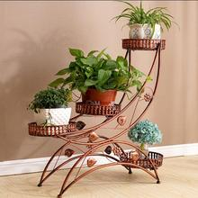 European multi-storey iron flower rack movable shelf assembly corner living room balcony simple garden bonsai rack цены