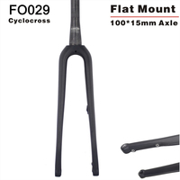 2019 new Flat mount 700*42C toray Carbon Cyclocross Bicycle Fork 100*15mm Thru axle 700c Carbon Fork FO029