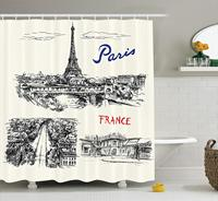 Eiffels Tower Decor Shower Curtain Paris Sketches Silhouette Classic Landscape Traffic Monochrome Illustration Bathroom