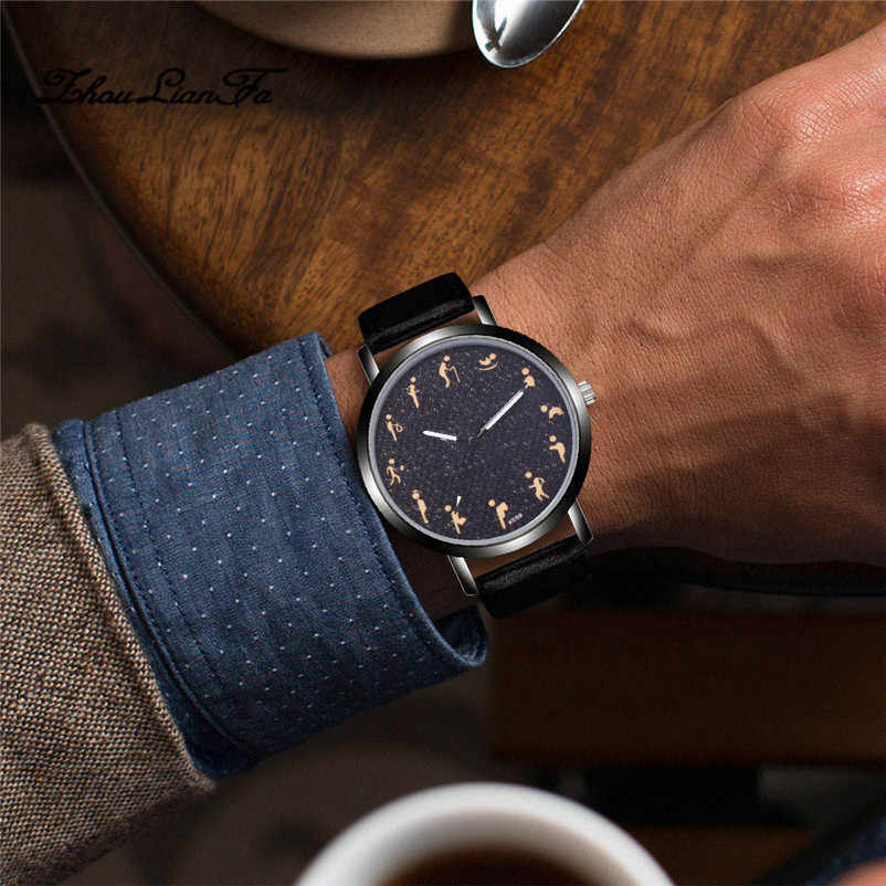 Watch Men Fashion Design Leather Simple Leather Band Analog Alloy Quartz Wrist Watch hot male clock Simple relogio masculino 40y