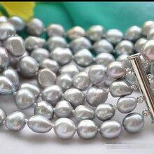 Z6090 4 пряди 9 мм ПРИРОДА СЕРЫЙ БАРОККО браслет перлы пресной воды 8 inch@^ Благородный стиль Природный Изысканные jewe 5.25
