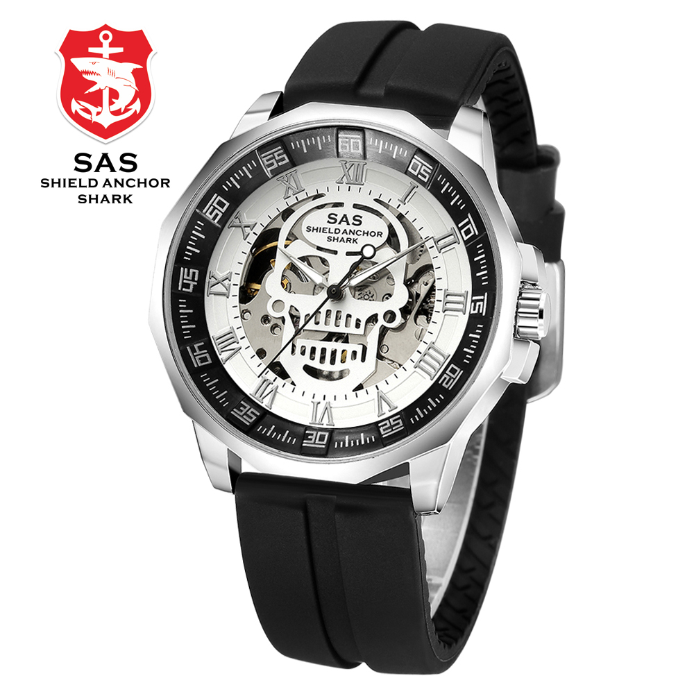 SAS Shield Anchor Shark Watch Men Clock Mechanical Skull Skeleton Watches Wristwatch Relogio Masculino